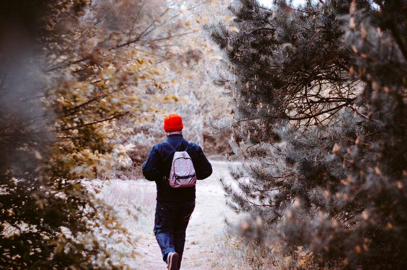 Full length rear view of man walking in winter