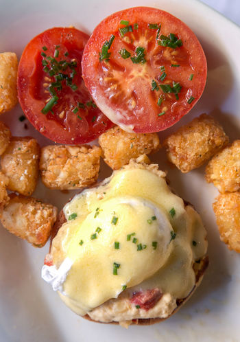 Eggs Benedict for Brunch Appetizer Bread Breakfast Close-up Day DIP Egg Food Food And Drink Freshness Fried Fried Egg Gourmet Healthy Eating Indoors  Meal Meat No People Plate Ready-to-eat Sandwich Seafood Serving Size Tomato Vegetable