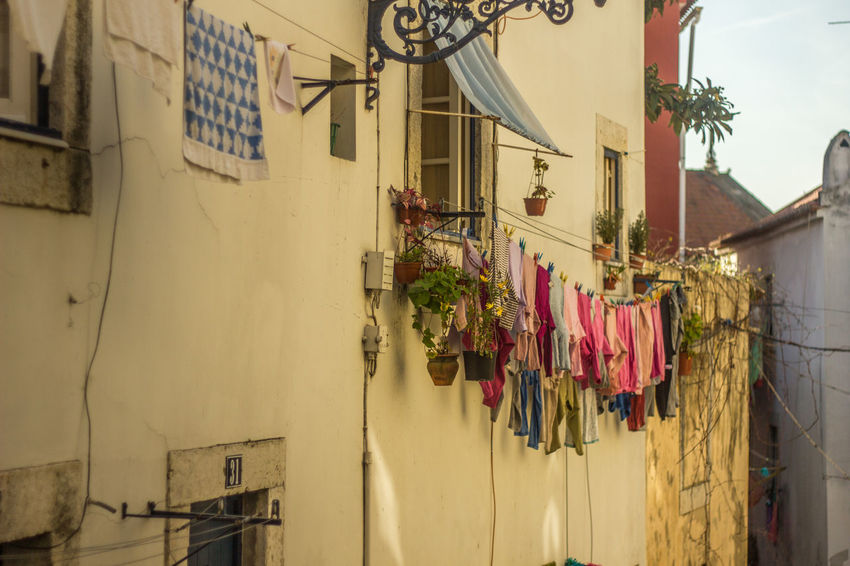 Chores Colorful Drying Home House Laundry Lisbon Portugal Residential  Urban Spring Fever
