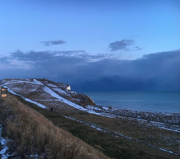 Snowy Chalk cliff tops Snow Cold Temperature Brighton Sea Water Sky Scenics - Nature Beauty In Nature Beach Tranquil Scene
