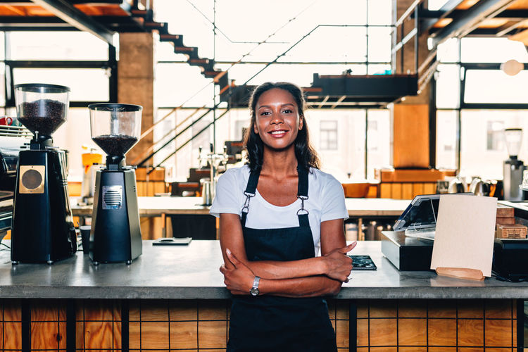 Coffee Shop Owner Business Woman One Person Real People Business Indoors  Entrepreneur Working African American Cafe Standing Bar Counter Looking Morning Preparing