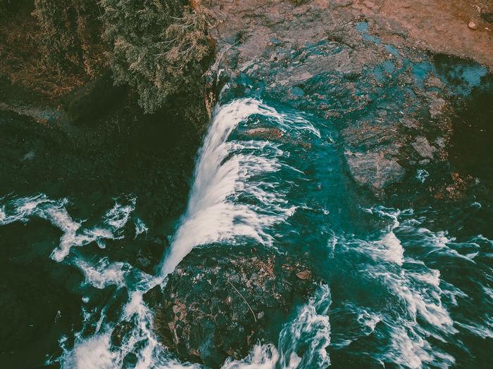 Amazing droneshot of bousra waterfall which is hidden gem in cambodia. hidden gems