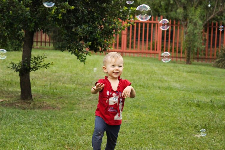 Running Bubbles Soap Playing Play Garden Outdoors Outside Toddler  Girl Baby Child Kid Happy Smile Laugh Laughing