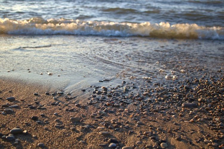 Beach Water Wave Motion Sand No People Aquatic Sport Outdoors Pebble Scenics - Nature Tranquility Nature Land Lake Tide Great Lakes Lake Huron Southampton Dusk Ontario, Canada Serenity Happy Place Relaxation Rolling Waves High Tide