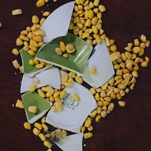 Smashed Bowl of cereal Broken Broken Glass Broken Plate Broken Pottery Cereal Cereal Plant Corn Pops Directly Above Food And Drink No People Plate Smash  Smashed Bowl Smashed Plate Smashed Pottery Spill