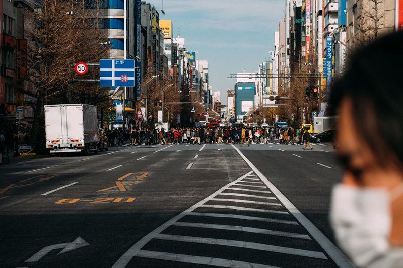 People crossing street in tokyo