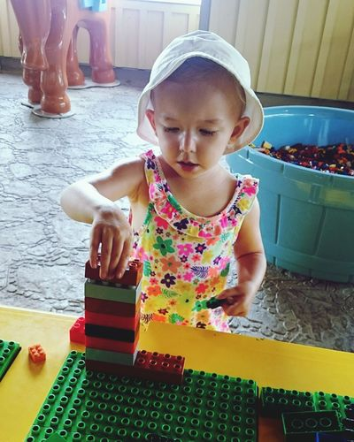 Legos, child, hat, play, Childhood One Girl Only Smiling Day Portrait Blond Hair One Person