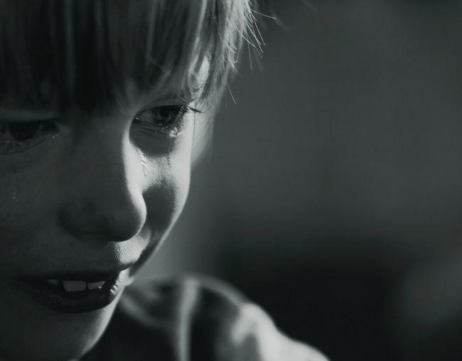 Close-up of crying boy