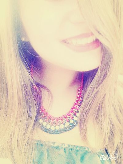 Smile :) Red Lips My Necklace ♡  Hair
