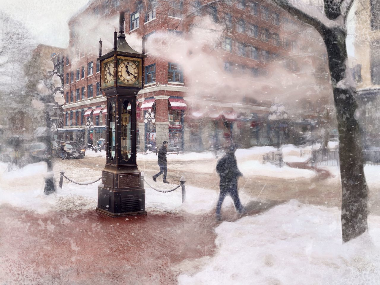 PEOPLE ON SNOW COVERED STREET BY BUILDINGS IN CITY