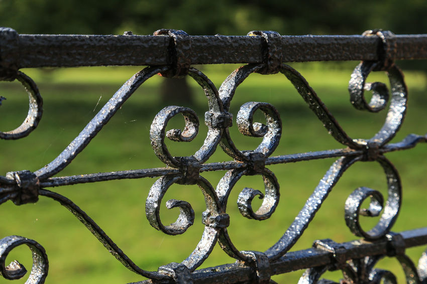 Gate Hanbury Gardens Worcestershire Uk Black Close-up Day Focus On Foreground Full Frame Metal No People Outdoors Parkland Pattern Protection Safety Security Wrought Iron