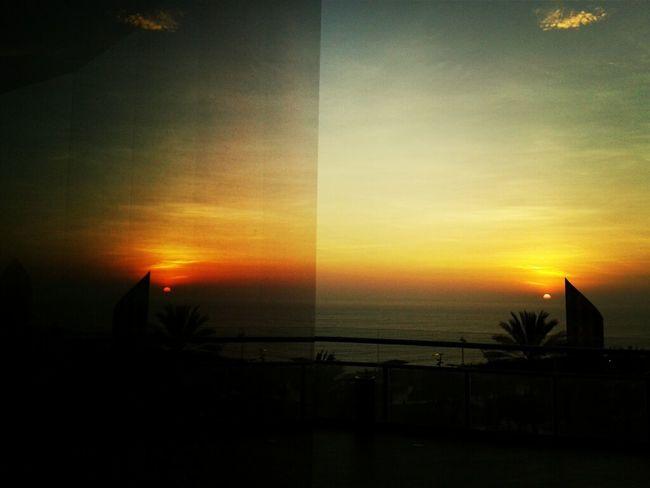 Reflection Sunset Miraflores Through The Mirror