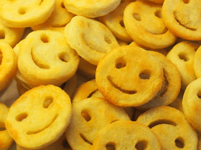 Pommes Abundance Backgrounds Baked Close-up Cookie Food Food And Drink Freshness Full Frame Group Group Of Objects High Angle View Indoors  Indulgence Large Group Of Objects No People Pommes Frites Potatoes Ready-to-eat Smiles Smiley Face Snack Still Life Temptation