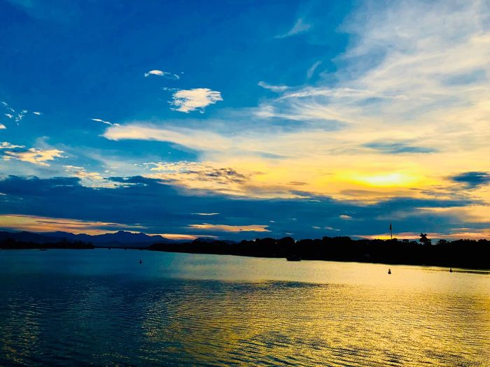Huong River Sky Cloud - Sky Beauty In Nature Water Scenics - Nature Tranquility Tranquil Scene Nature No People Sunset Blue Sea Orange Color