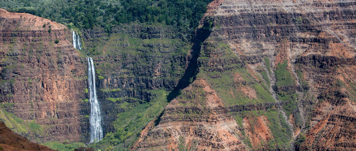 Panoramic Shot Of Waterfall At Pacific Islands
