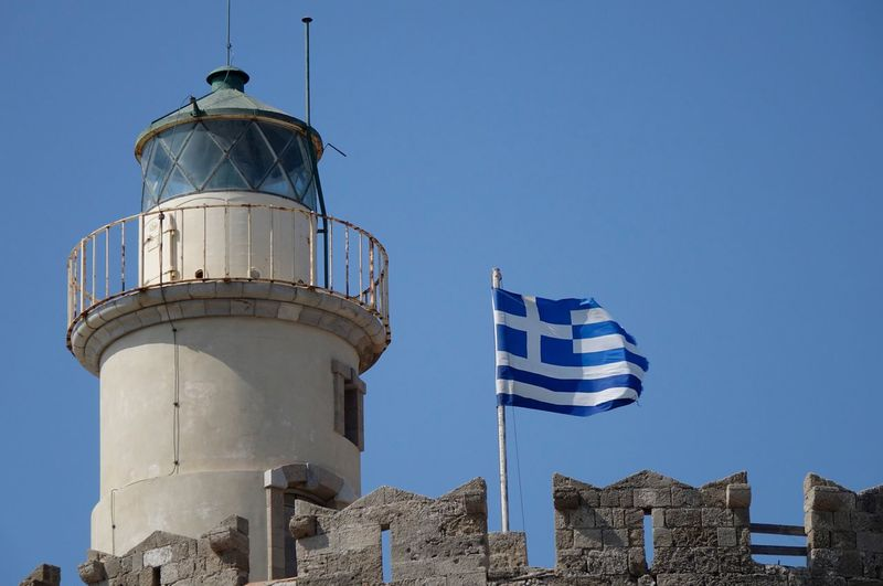 Greece Built Structure Clear Sky Architecture Low Angle View Striped Building Exterior Flag Blue Day No People Outdoors Sky Summer ☀ AMP PICTURES