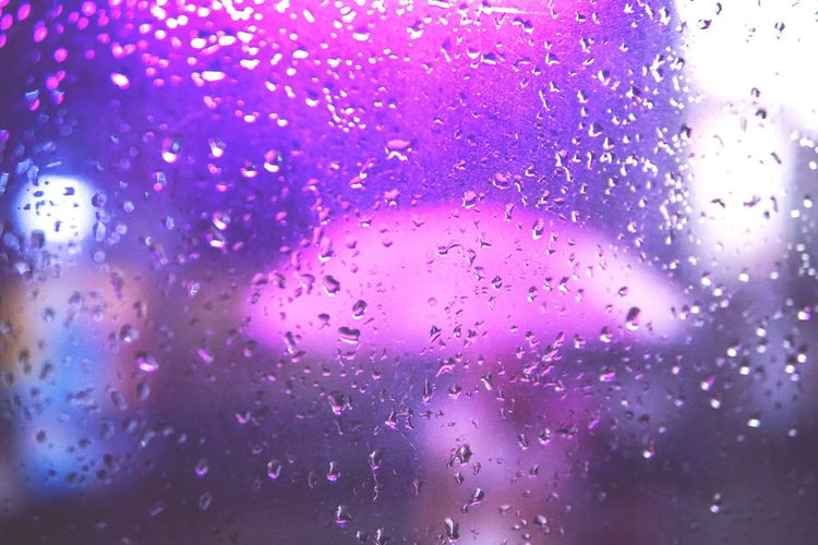 Abstract Purple Backgrounds Window Drop Close-up Defocused Rainy Days Rain Loneliness