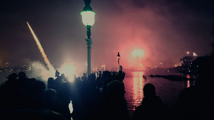 Warmth New Year's Eve Fireworks Lake Night People Fireworks Happy New Year 2015 Night Lights Night Sky Colorful