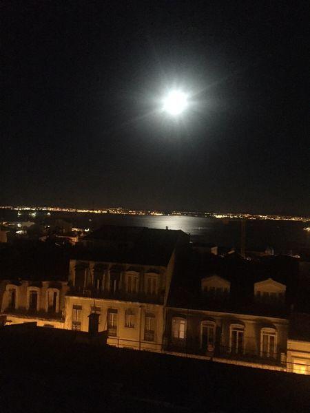 Estrela Lisbon - Portugal Moon Moonlight Tejo River