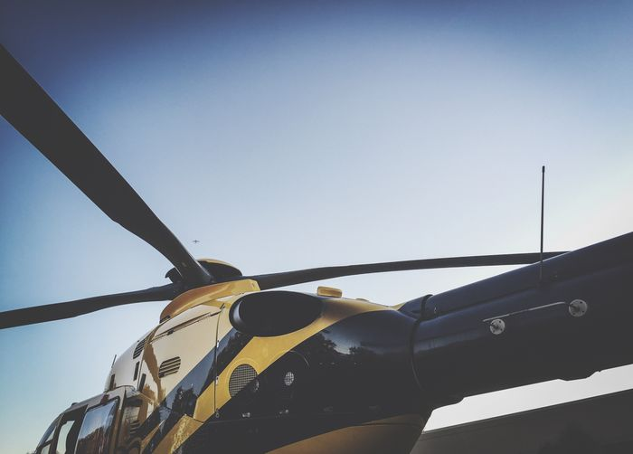 Mode Of Transport Transportation Low Angle View Clear Sky Day Sky Outdoors No People Propeller Something Different Medivac Dehavilland Eurocopter Airbus Helicopter Travel Destinations Low Angle View Air Vehicle