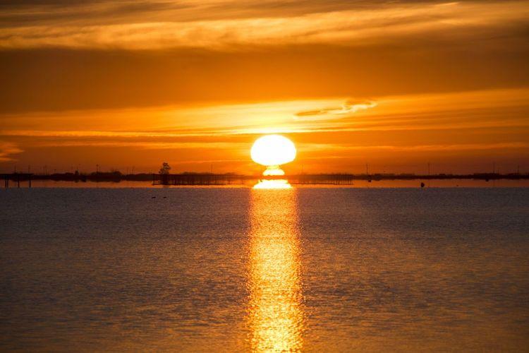 Sunrise at Badía del Fangar Sunrise Sunset Sky Sun Sea Water Sunlight Beauty In Nature Reflection Scenics - Nature Orange Color Nature Cloud - Sky Tranquility Horizon Horizon Over Water Idyllic Tranquil Scene No People Shiny Outdoors Lens Flare Contemplation Delta De L'Ebre Delta Del Ebro