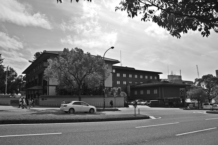Architecture Bllack And White Photography Building Exterior Built Structure Car City Cloud - Sky Land Vehicle Outdoors Road Sky Street Transportation Tree