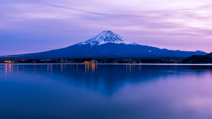 Fuji Mountain Japan Kawaguchiko Lake Mountain Mountain Peak Mountain Range Reflection Sky Snow