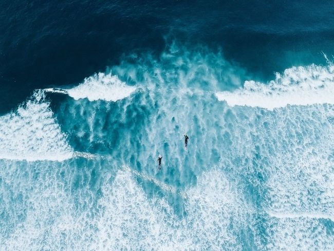 Surfs up. Water Sea Motion Wave Sport Nature No People High Angle View Scenics - Nature Power In Nature Beauty In Nature Backgrounds Breaking Turquoise Colored Outdoors Close-up Blue Splashing Day Aquatic Sport