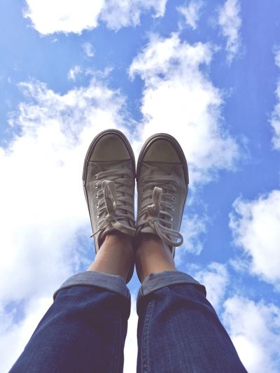 Out Of The Box cloud watching Cloud - Sky Shoe Human Body Part Jeans Sky Sneekers Blue Sky Blue Sky And Clouds Casual Clothing Outdoors Lifestyles