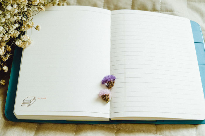 dry flower with paper Book Close-up Copy Space Day Diary Directly Above Education Flower High Angle View Indoors  Learning Lined Paper Literature No People Note Pad Page Paper Pen Pencil Sketch Pad Table Wisdom Writing