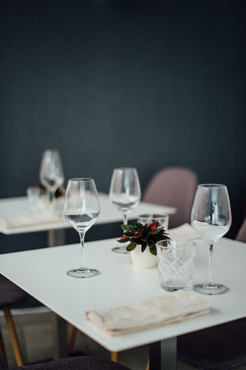 Wine glasses on table