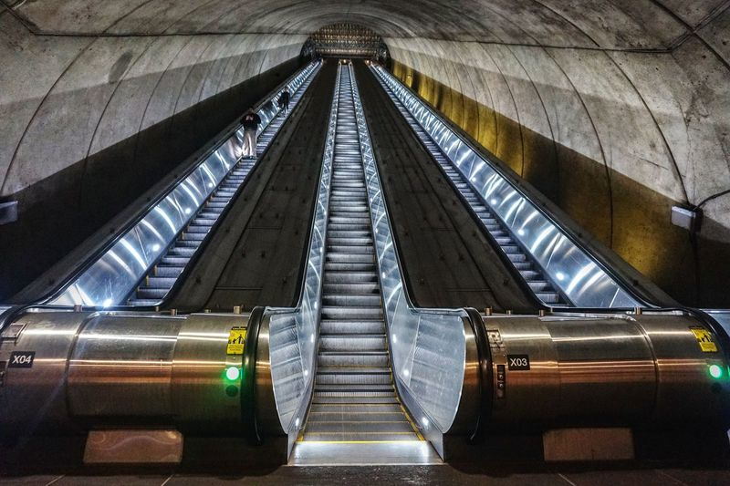 stairway to heaven Tunnel Geometric Shape Interior Symmetry Modern Brutalism Brutalist Architecture Concrete Wall Round City Modern Futuristic Metal Architecture Built Structure Escalator Subway Station My Best Photo Humanity Meets Technology 17.62°