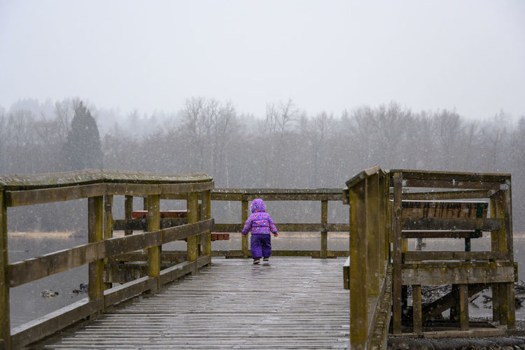 Rear view of woman on wooden railing during winter
