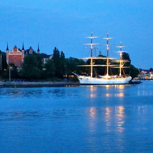 Af Chapman  YouthHostel Sailing Boats Boat Blue Hour Blue Stockholm Sweden Nightphotography Cities At Night