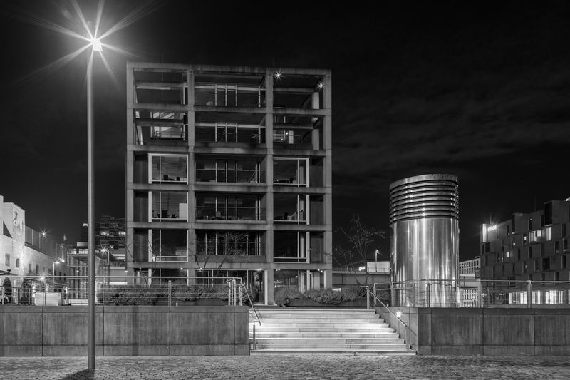 Cologne by night #2 Architecture Architecture Black And White Black And White Collection  Black And White Photography Building Building Exterior Buildings Built Structure City City City Lights City Night City Night Lights Cologne Illuminated Modern Modern Architecture Night Nightphotography No People Straight Straight Lines The Architect - 2017 EyeEm Awards