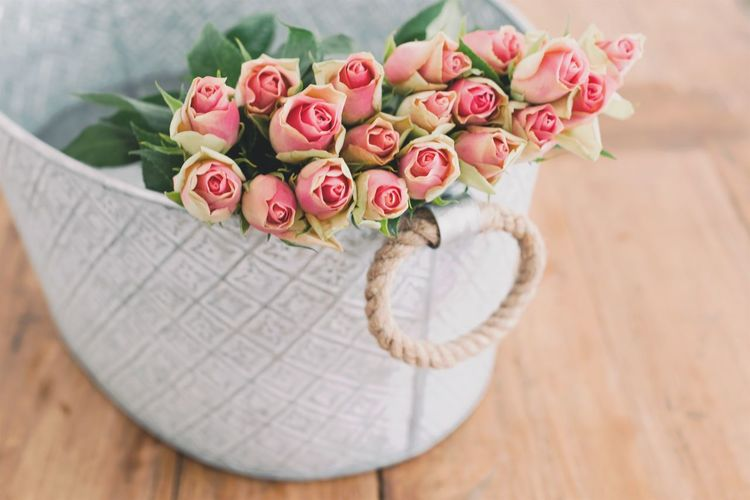 Roses Basket Beauty In Nature Bouquet Close-up Day Flower Flower Head Focus On Foreground Fragility Freshness Growth Life Style Nature No People Petal Pink Color Pink Flower Rose - Flower Roses Selective Focus Still Life Wood - Material Wooden