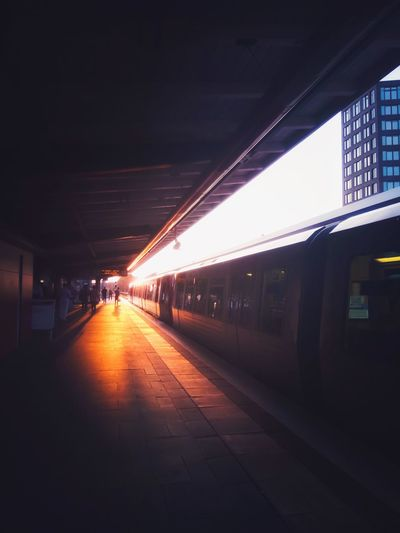 Germany Hamburg Light Sunset Transportation Architecture Built Structure Public Transportation Illuminated Mode Of Transportation Rail Transportation Railroad Station Direction Train Outdoors The Way Forward City Platform Railroad Station Platform