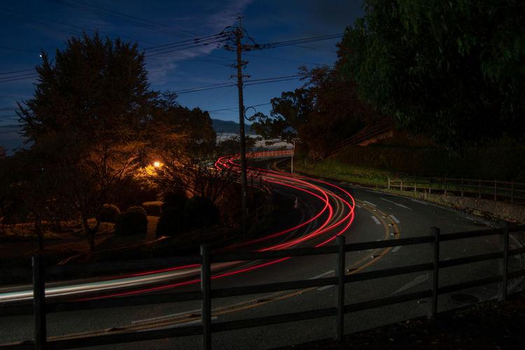 Transportation Tree Road Plant Motion Nature Speed Long Exposure No People Light Trail Night Illuminated Sky Street Outdoors