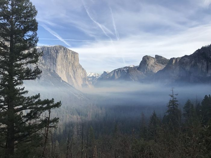 Yosemite National Park. December 2018. Beauty In Nature Scenics - Nature Tranquil Scene Sky Mountain Tranquility Tree Plant Nature Non-urban Scene Cloud - Sky Environment Water Idyllic No People Land Day Remote Landscape Mountain Range Outdoors Formation Power In Nature Hazy  The Mobile Photographer - 2019 EyeEm Awards The Great Outdoors - 2019 EyeEm Awards The Traveler - 2019 EyeEm Awards