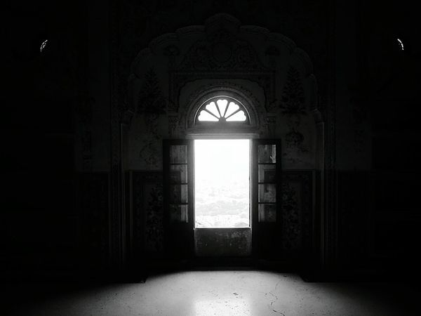 A Window at Nahargarh Fort overlooking the city of Jaipur, Rajasthan, Incredible India.. Creative Light And Shadow Shades Of Grey Eye4photography  RePicture Travel