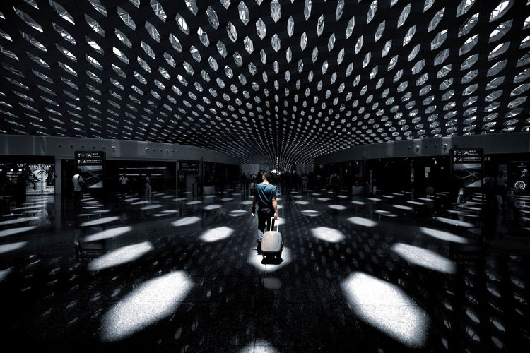Man walking in building
