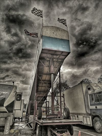 Sky high Fair Fairground Finish Flag Flag HDR Snapseed Editing  Snapseed P20 Pro P20 P20pro Stormy Sky RAM Hydrolic Frame Sky Architecture Building Exterior Built Structure Cloud - Sky