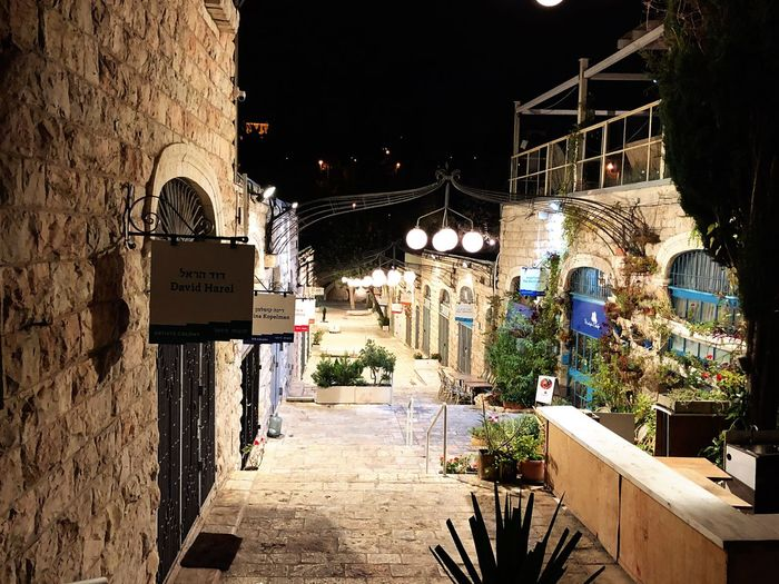 Artist's Colony at night. Jerusalem, Israel. Israel Jerusalem Street Architecture Lights Night Dark Calm No People House Artistscolony Travel Idyllic Beautiful
