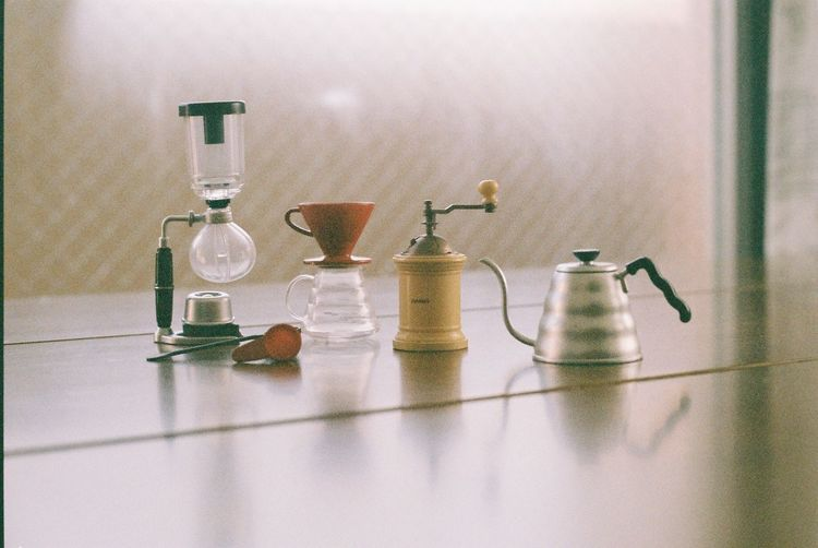 Close-up of household equipment on table