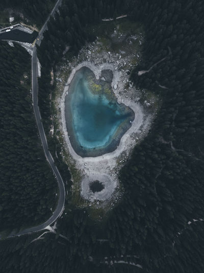Karersee Aerial View Architecture Beauty In Nature Day Environment Geometric Shape High Angle View Idyllic Land Nature No People Outdoors Power In Nature Scenics - Nature Sea Tranquil Scene Tranquility Water The Week On EyeEm Editor's Picks