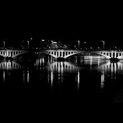 Lyon Night Lights Bridge Bnw