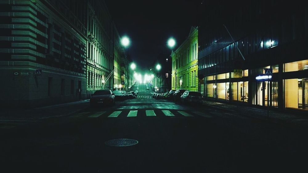 city sleeps Helsinki Street Light City Street Road Night Street No People Architecture Night Life Nightphotography Streetphotography Cinematographer Cinemaphotography