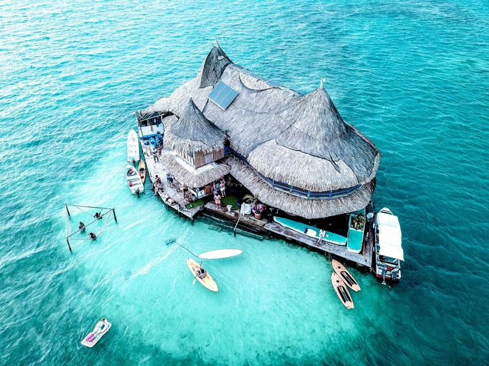 High Angle View Of Hut In Sea