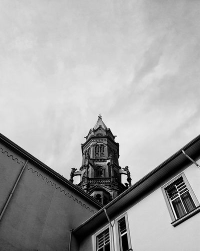 Blackandwhite Black And White Monochrome Tower Angles And Lines Church Architecture Church EyeEm Ready   Low Angle View Architecture Outdoors Built Structure Sky Building Exterior Travel Destinations Day No People City