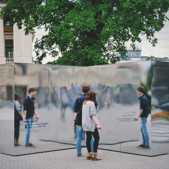 Reflection Street Photography Mirror People Pedestrians Holiday POV Glitch